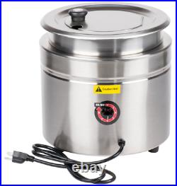 11 Qt. Stainless Steel Round Countertop Food Soup Kettle Warmer Restaurant W800