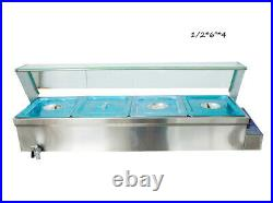 110V 1/264 Pan Stainless Steel Bain-Marie Buffet Countertop Food Warmer