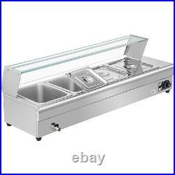 110V 4-Pan Steamer Bain-Marie Food Warmer Steam Table Buffet Countertop 1500W