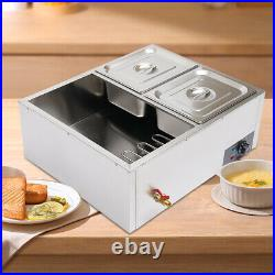 110V 4-Pan Steamer Bain-Marie Food Warmer Steam Table Buffet Countertop 600W