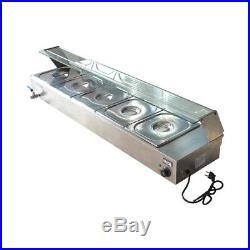 110V 5-Pan Steamer Bain-Marie Buffet 1500W Countertop Food Warmer Table Steam