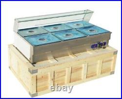 110V 6-Pan Buffet Server Food Warmer Food Grade Steel Countertop Steam Table New