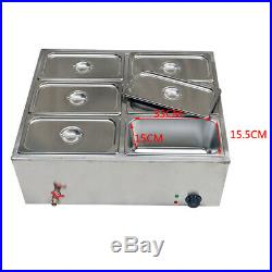 110V 850W 6-Pan Steamer Bain-Marie Buffet Countertop Food Warmer Steam Table USA