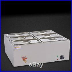 110V 850W Bain-Marie Buffet Countertop Food Warmer Steam Table 6-Pan Steamer