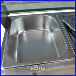 110V Commercial Food Warmer Steam Table Buffet Countertop 5-Pan Bain-Marie