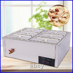 110V Electric Food Warmer 6-Pan Steam Table Steamer Bain-Marie Buffet Countertop