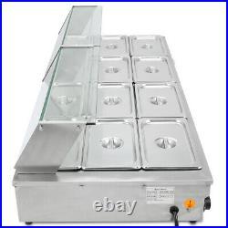 12-Pan 1700W Food Warmer Steam TableSteamer Bain-Marie 110V Buffet Countertop