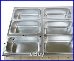 12-Pan Food Warmer 110V Bain-Marie Buffet Steam Table Restaurant Large Capacity