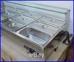 12-Pan Hot Well Bain-Marie Buffet Food Warmer Steamer Table 1/3Pan