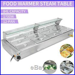 12-Pan Steamer Bain Marie Buffet Countertop Food Warmer Steam Table Restaurant