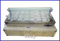 12 Pans Electric Food Warmer Hot Well Bain-Marie Buffet Steamer Sneeze Guard
