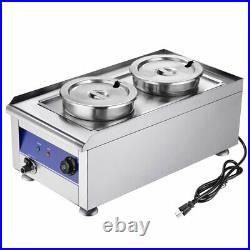 1200W Commercial Food Warmer with Dual 7L Pots Countertop Steam Soup Kitchen