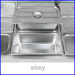 1700W 110V 12-Pan Steamer Bain-Marie Food Warmer Steam Table Buffet Countertop