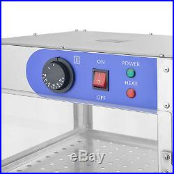 2/3-Tier Commercial Food Pizza Warmer Cabinet Countertop Heated Display Case