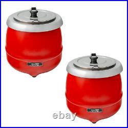(2-Pack) Commercial Kitchen Restaurant 11 Qt. Red Food Soup Kettle Pot Warmer