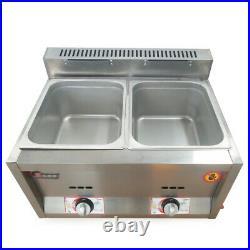 2 Pan Gas Fryer Steam Food Warmer Buffet Countertop Steam Table Steamers 6L2