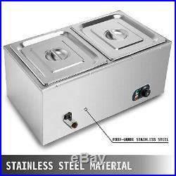 2 Pan Hot Well Bain Marie Food Warmer 110V 850W Steam Table Steamer Restaurant