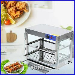 2-Tier 750W Commercial Countertop Heat Food Pizza Warmer Display Cabinet Case