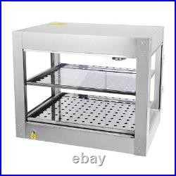 2 Tier Commercial Food Pizza Warmer Countertop Cabinet Display Stainless Steel