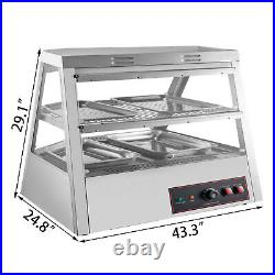 2 Tiers Commercial Food Warmer Cabinet 44x25x30 Countertop Pizza Display Case