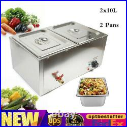 210L 2 Pan Commercial Electric Food Warmer Buffet Countertop Table Steamer 110V