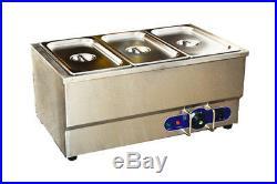 3-Pan Food Warmer Bain Marie Buffet Countertop Steam Table 6inch pan