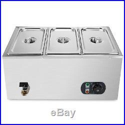 3-Pan Food Warmer Steam Table Steamer 3 Deep Buffet Countertop Heavy Gauge Pans