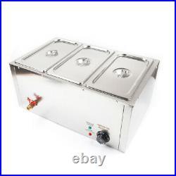 3-Pan Food Warmer Steam Table Steamer 3 Deep Buffet Countertop Heavy Gauge US