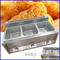 3-Pan Food Warmer Steam Table Steamer Buffet Countertop Hot Well Gas Deep Fryer