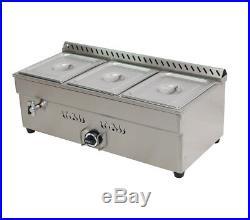 3-Pan Gas Bain-Marie Buffet Food Warmer Steam Table Commercial Kitchen Equipment