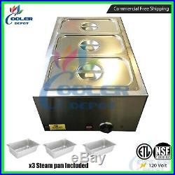 3-Pan Steamer Bain-Marie Buffet Countertop Food Warmer Steam Table Cooler Depot