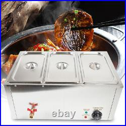 3-Pan &lid Bain Marie Buffet Steamer Countertop Electric Food Warmer Steam Table