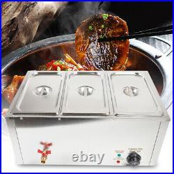 3 Pan /pot Commercial Food Warmer Steam Table Steamer Buffet Countertop 850W USA