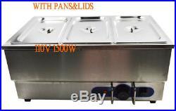 3-Pot Electric Food Warmer Bain Marie Buffet Equipment Stainless Steel 6Pan