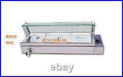 3 Pot Food Warmer 1.5KW Steam Warmer Table Steamer Restaurant Bain Marie 110V