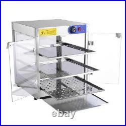 3-Tier Commercial Food Warmer Heat Food Pizza Countertop Display Warmer Cabinet
