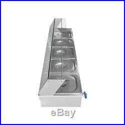 30L 5-Pan Food Warmer Steam Table Buffet Countertop Steamer Bain-Marie 110V