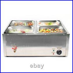 4 Pans Bain Marie Commercial Food Warmer Buffet Steam Table Steamer Countertop