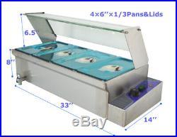 4-Pot Food Warmer Heightening Buffet Equipment 1/3Pans 110V 1500W Glass Guard