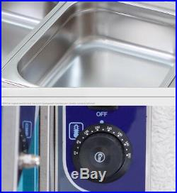 4 Pots Food Warmer Bain-marie Buffet Steamer Chafing Dish Heater 5.9 Deep Pan