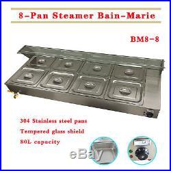 5/8 Slots Steamer Bain-Marie Buffet Countertop Food Warmer Steam Table 110V