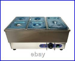 5 Kettles Electric Bain-Marie Food Warmer Countertop Steamer 6 Deep Pan
