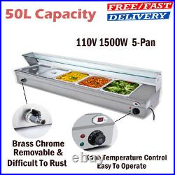 5-Pan 110V 1500W Steamer Bain-Marie Buffet Countertop Food Warmer Steam Table