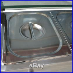 5-Pan Steamer Bain-Marie Buffet Countertop Food Warmer Steam Table 110V 1500WNEW