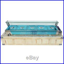 5-Pan Steamer Bain-Marie Buffet Countertop Food Warmer Steam Table 110V Electric