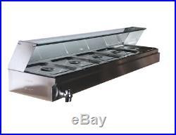 5-Pan Steamer Bain-Marie Buffet Countertop Food Warmer Steam Table Warming Tray