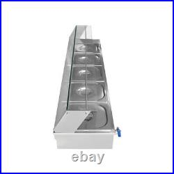 5-Pan Steamer Bain-Marie Buffet Countertop Food Warmer Steam Table1500W 110V