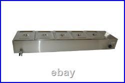 5-Pan Steamer Bain-Marie Buffet Countertop Food Warmer Table Temperature Display