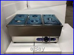 5-Pot Bain Marie Food Warmer Stainless Steel 1500W Steam Table