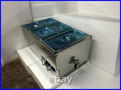 5-Pot Bain-Marie Food Warmer Steam Table Countertop Steamer Kitchen Supply 110V